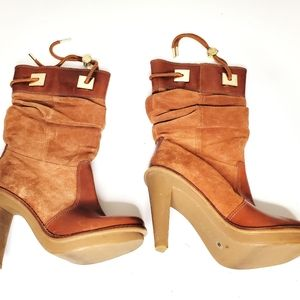 Michael Kors Suede Booties Rubber Sole Tan Size 6